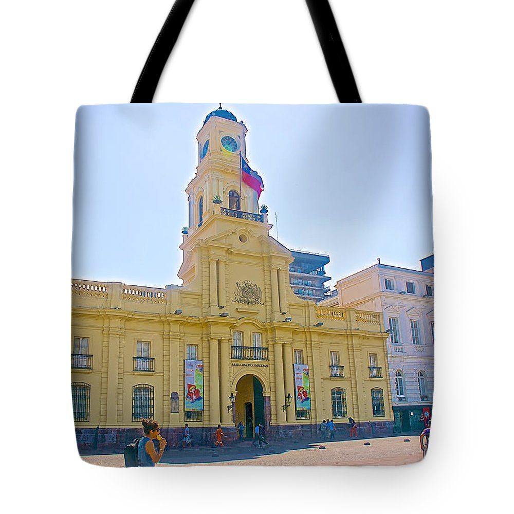 National History Museum On Plaza De Armas In Santiago Tote Bag featuring the photograph National History Museum On Plaza De Armas In Santiago-chile by Ruth Hager