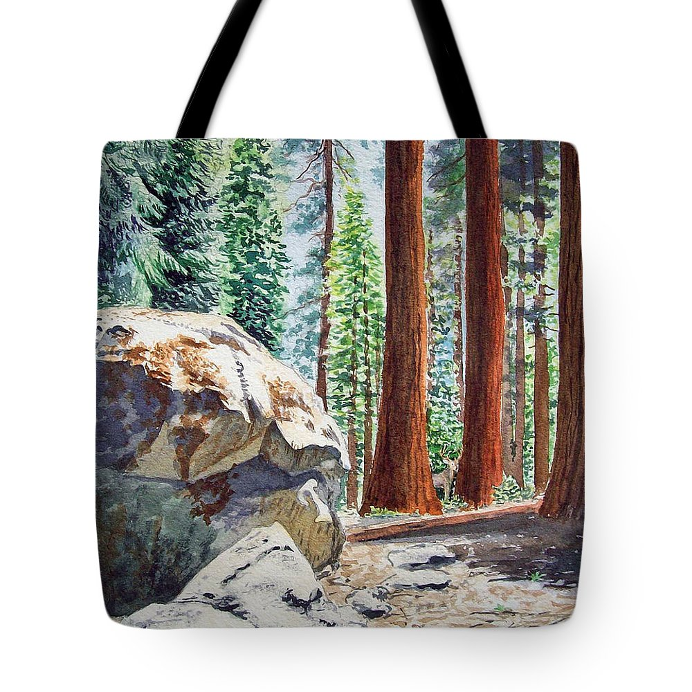 Sequoia Tote Bag featuring the painting National Park Sequoia by Irina Sztukowski