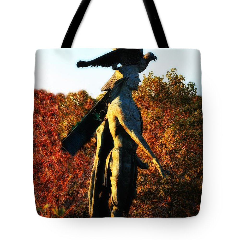 Native Tote Bag featuring the photograph Native American And Eagle by Bill Cannon