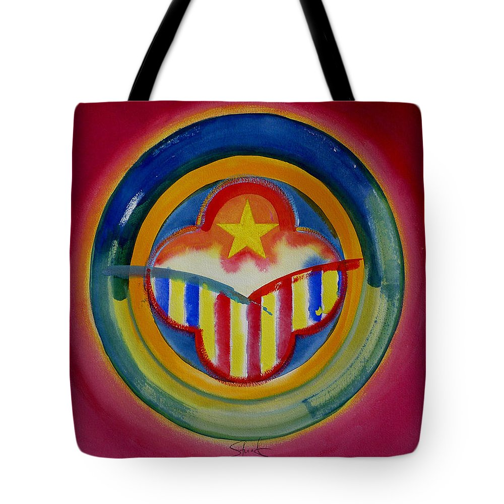 Button Tote Bag featuring the painting Native American by Charles Stuart