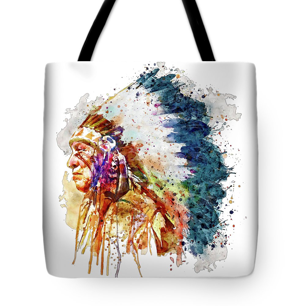 Native American Tote Bag featuring the painting Native American Chief Side Face by Marian Voicu