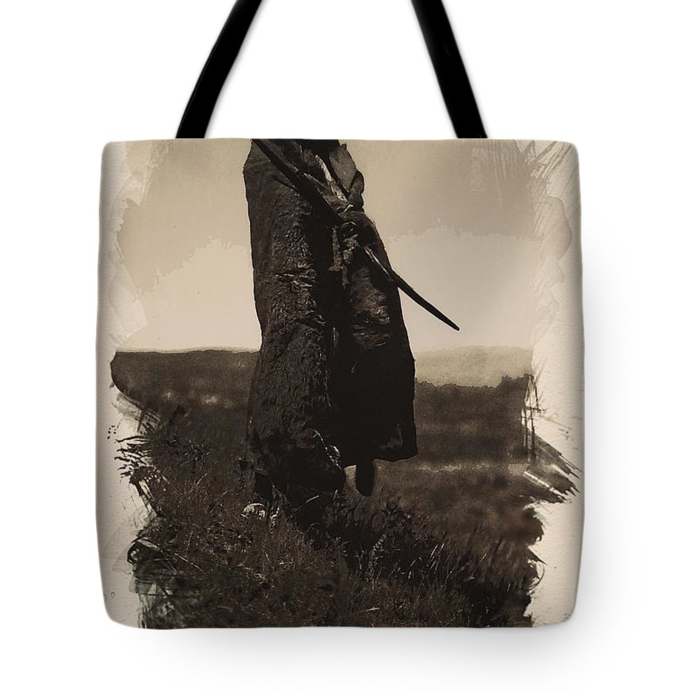 Native Tote Bag featuring the painting Native American Indian Portrait Profile Series - A Grizzly Bear Brave No 5 by Celestial Images