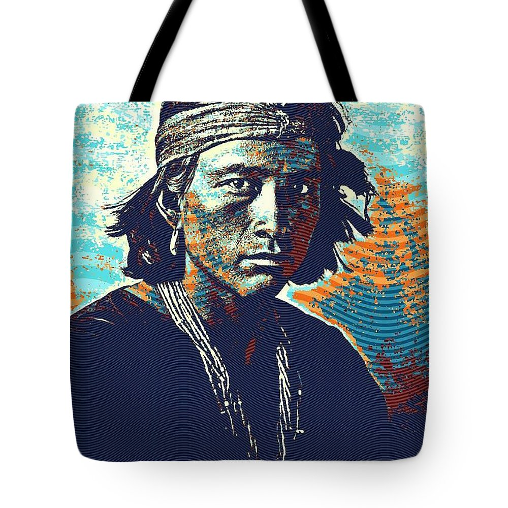 Native Tote Bag featuring the painting Native American Indian Portrait Profile Series - Navajo Youth Poster by Celestial Images