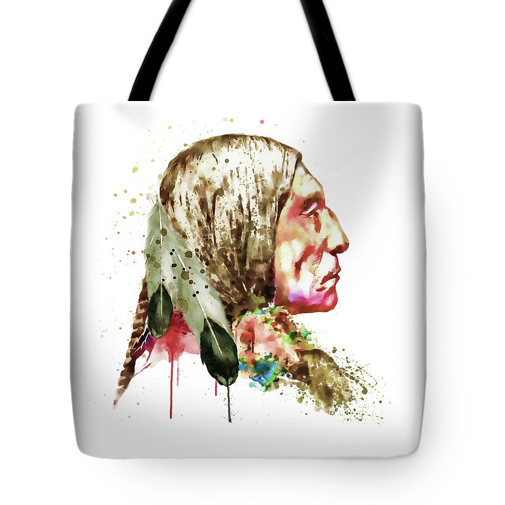 Native American Tote Bag featuring the painting Native American Side Face by Marian Voicu