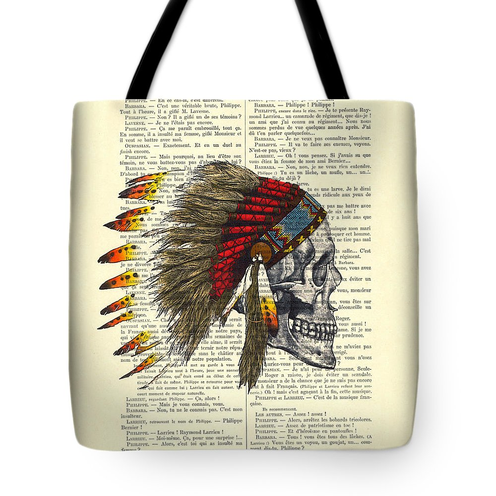 Native American Tote Bag featuring the digital art Native American Skull by Madame Memento