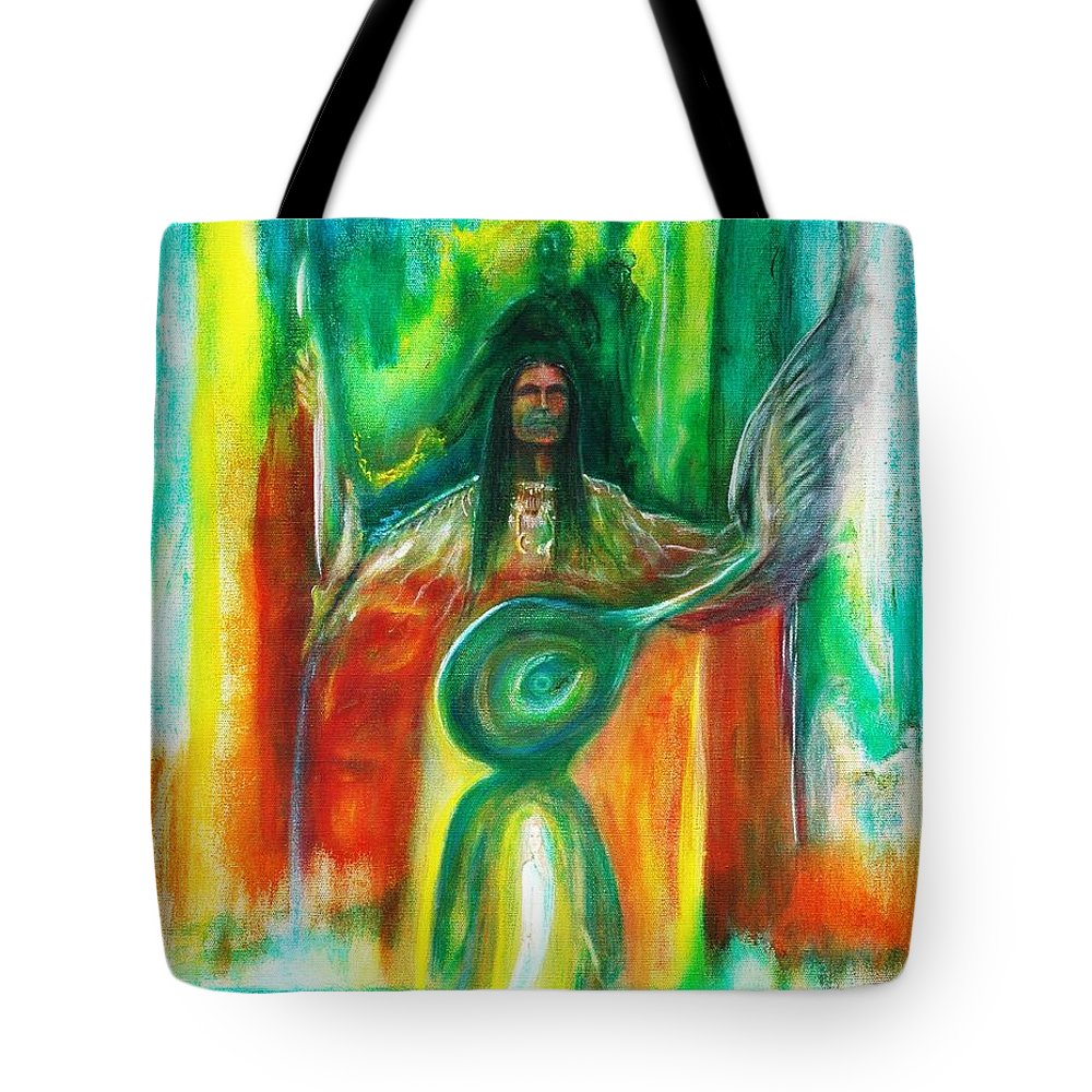 Native American Tote Bag featuring the painting Native Awakenings by Kicking Bear Productions
