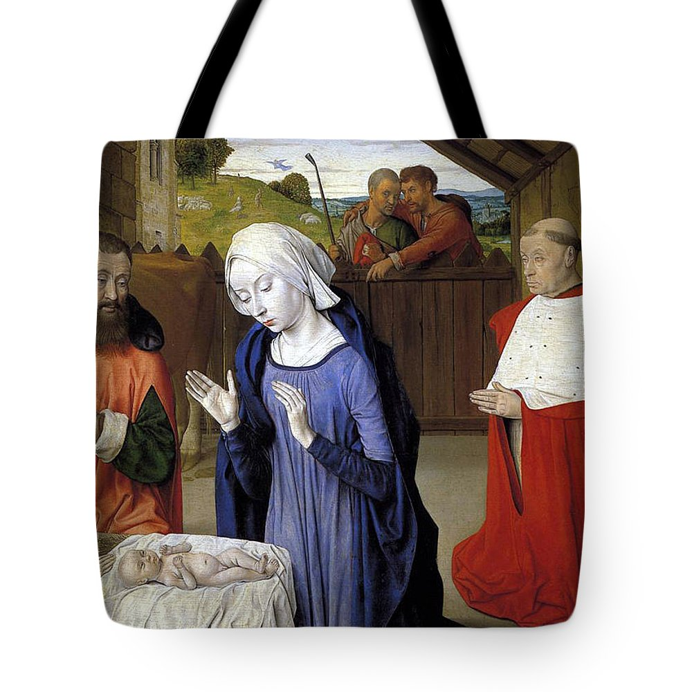 Christmas Tote Bag featuring the greeting card Nativity - Master Of Moulins by Munir Alawi