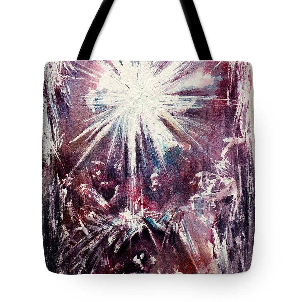 Nativity Tote Bag featuring the painting Nativity 1 by Rachel Christine Nowicki