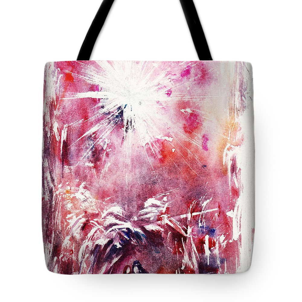 Nativity Tote Bag featuring the painting Nativity 5 by Rachel Christine Nowicki