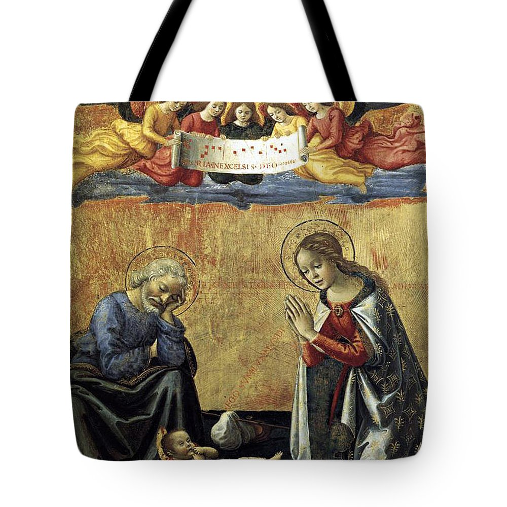 Nativity Tote Bag featuring the painting Nativity By Domenico Ghirlandaio by Munir Alawi