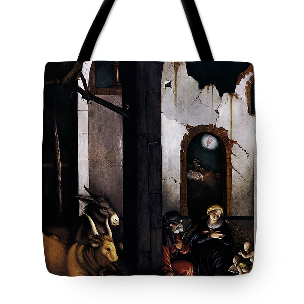 Nativity Tote Bag featuring the painting Nativity By Hans Baldung Grien by Munir Alawi