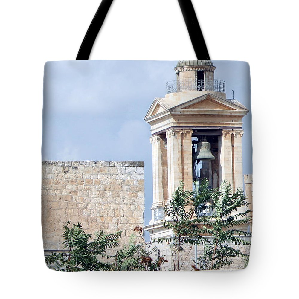Bethlehem Tote Bag featuring the photograph Nativity Church Bells by Munir Alawi