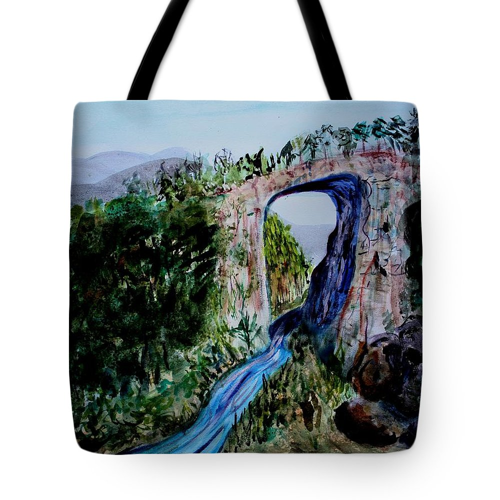 Virginia Tote Bag featuring the painting Natural Bridge In Virginia by Donna Walsh
