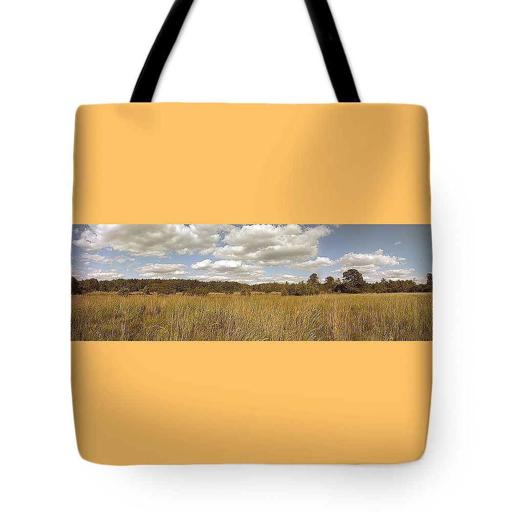 Natural Tote Bag featuring the photograph Natural Meadow Landscape Panorama. by Arletta Cwalina