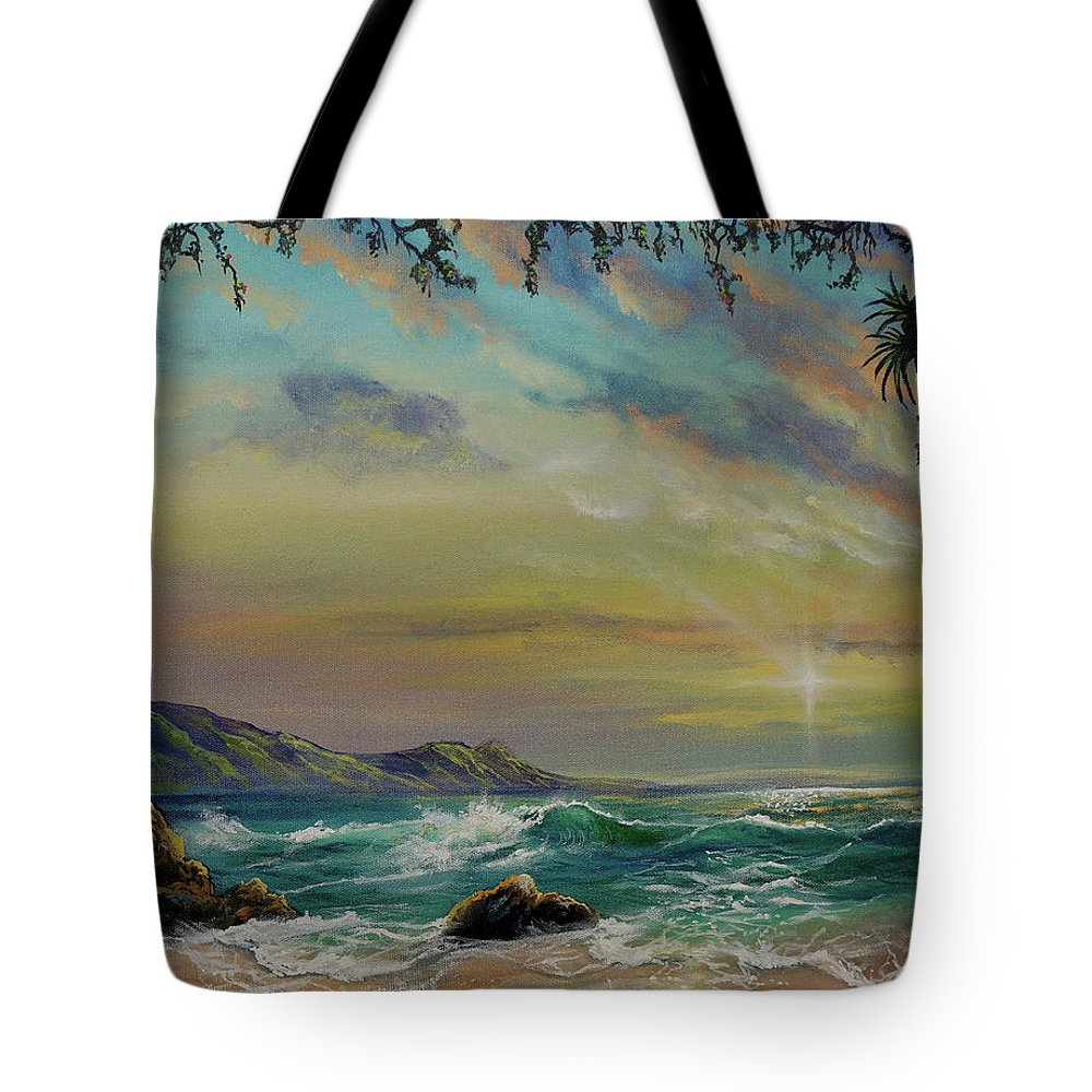 Seascape Tote Bag featuring the painting Natural Mystic by Marco Antonio Aguilar