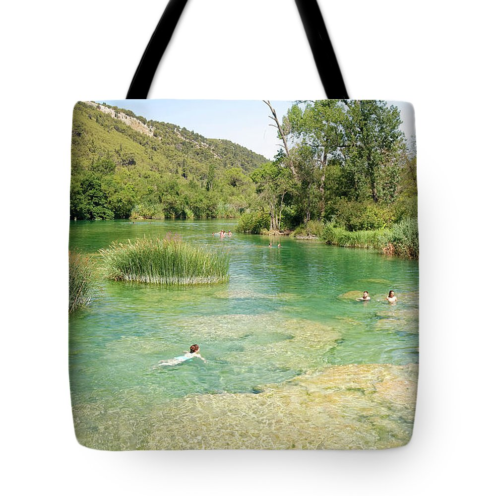 Natural Swimming Area Tote Bag featuring the photograph Natural Swimming Pool by Sally Weigand