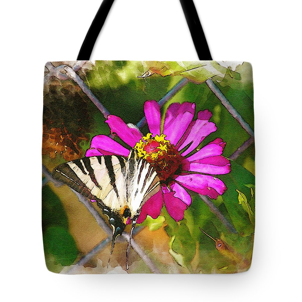 Butterfly Tote Bag featuring the digital art Butterfly In Love by Diana Van