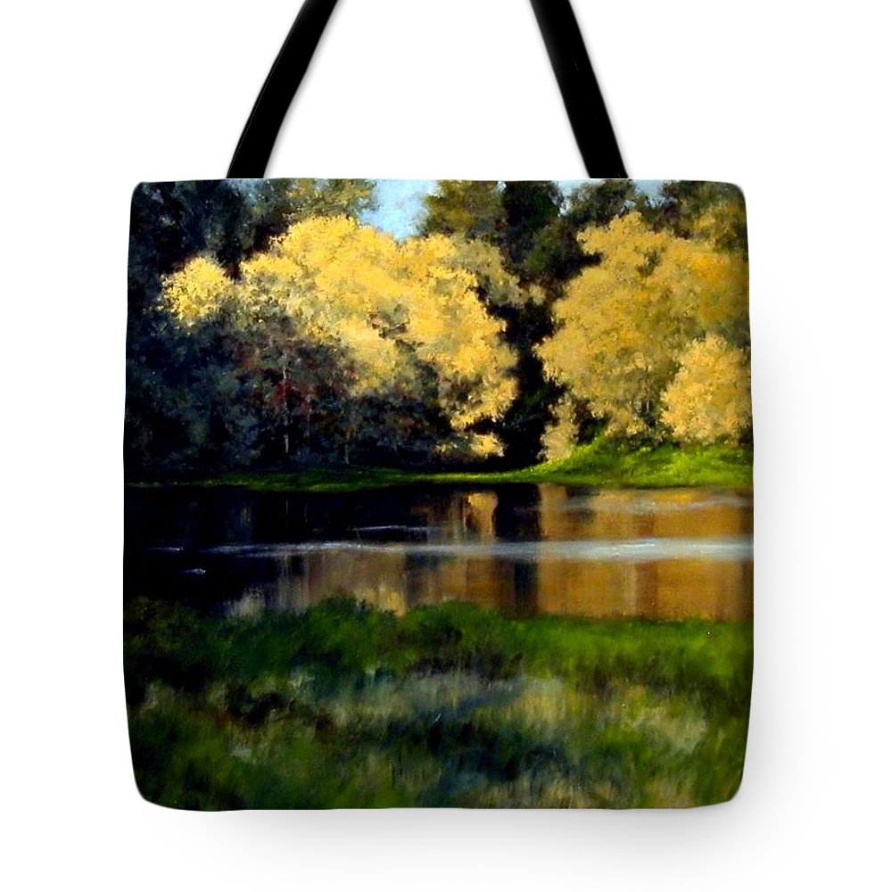Landscape Tote Bag featuring the painting Nature Walk by Jim Gola