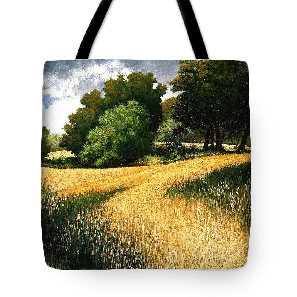 Landscape Tote Bag featuring the painting Nature Walk Ridgefield Washington by Jim Gola