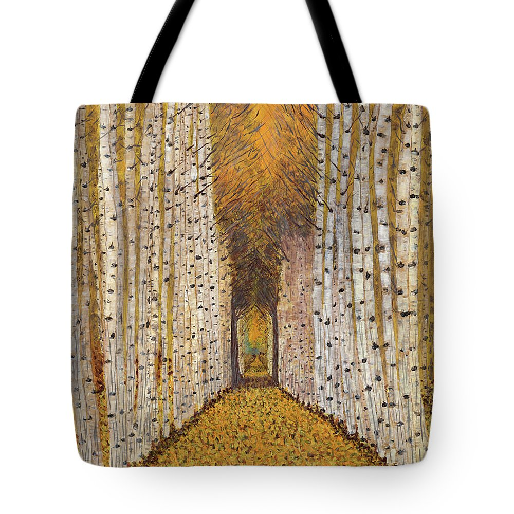 Golden Aspen Trees Tote Bag featuring the painting Nature's Cathedral by Koni Webb Bosch