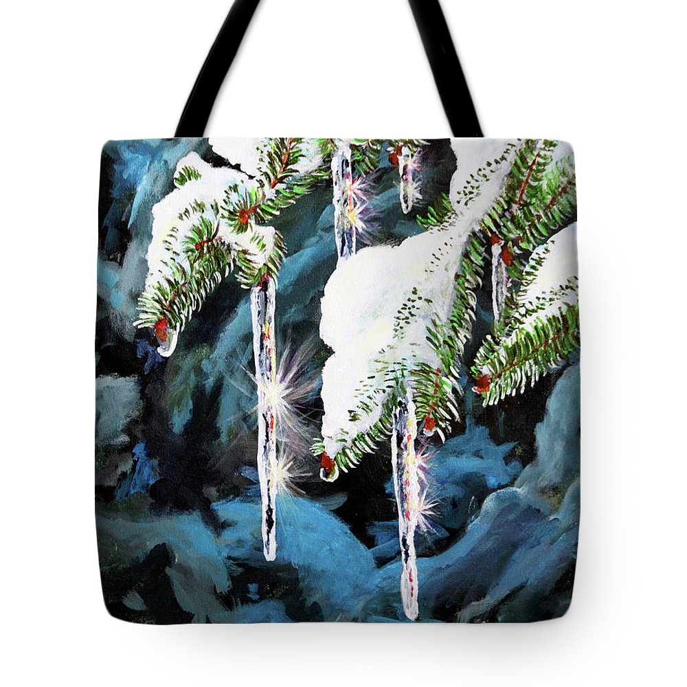 Icicles Tote Bag featuring the painting Nature's Decorations by Lorraine Vatcher