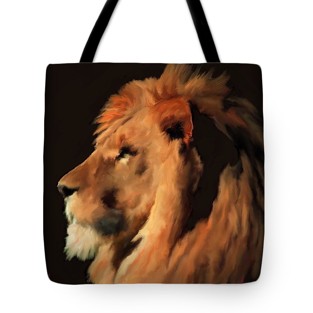Lion Tote Bag featuring the painting Nature's King by Jack Bunds