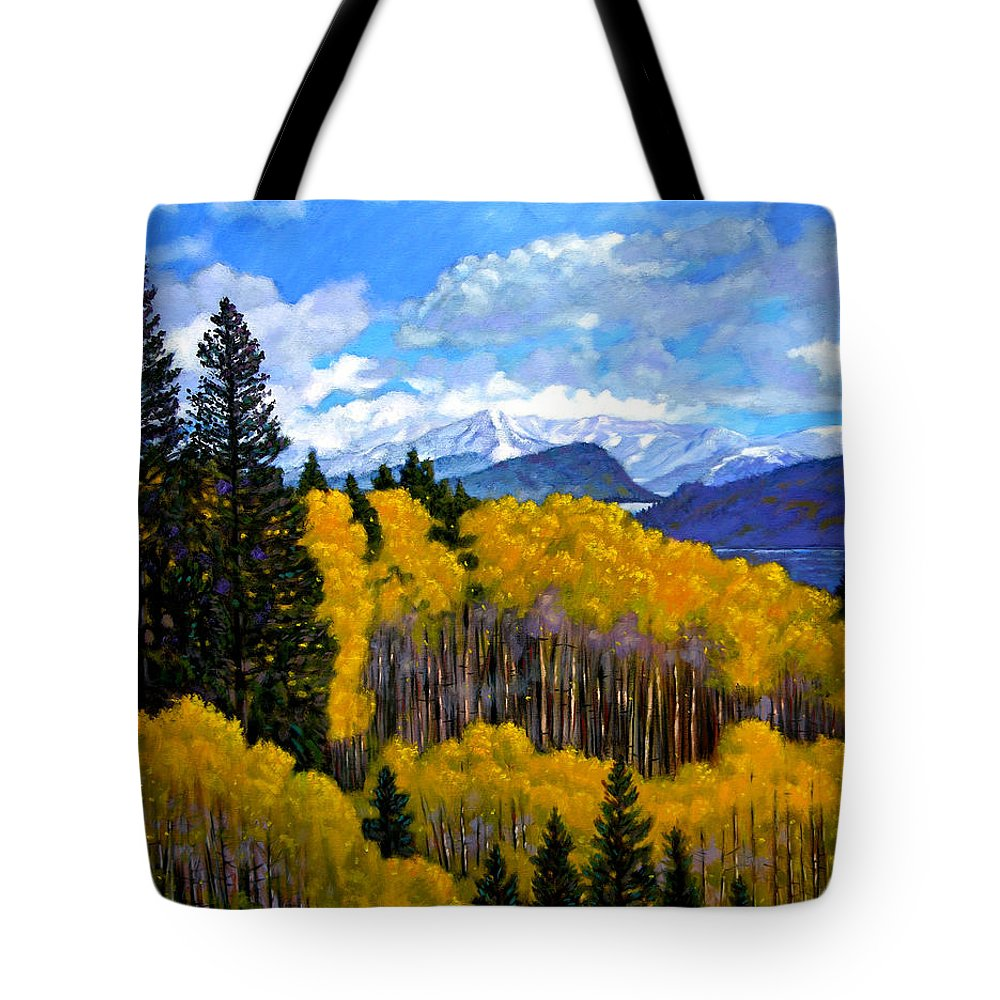 Fall Tote Bag featuring the painting Natures Patterns - Rocky Mountains by John Lautermilch