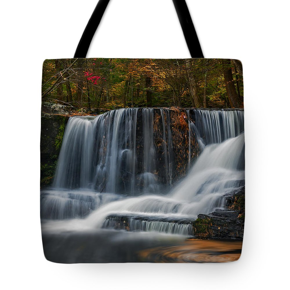 Waterfalls Tote Bag featuring the photograph Natures Waterfall And Swirls by Susan Candelario