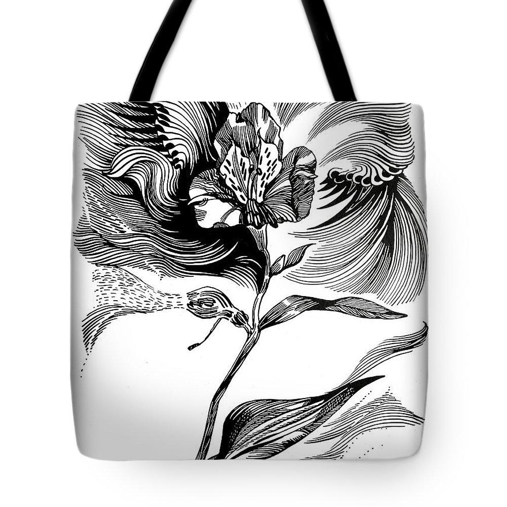 Inga Vereshchagina Tote Bag featuring the drawing Nature's Waves by Inga Vereshchagina