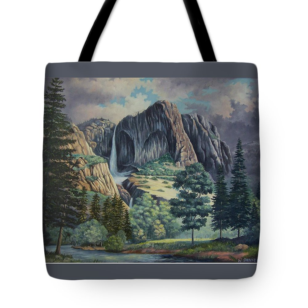 Landscape Tote Bag featuring the painting Natures Wonder by Wanda Dansereau