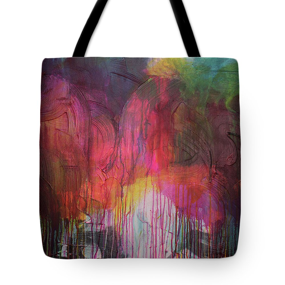 Pink Tote Bag featuring the painting Naughty Unicorn 1 by Rebecca Danger