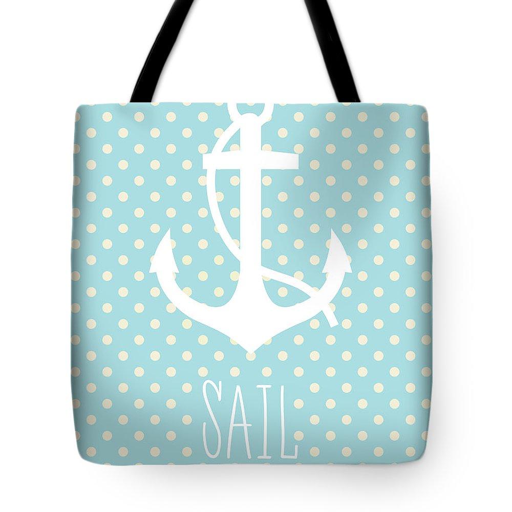 Sail Tote Bag featuring the digital art Nautical Anchor by Zapista Zapista