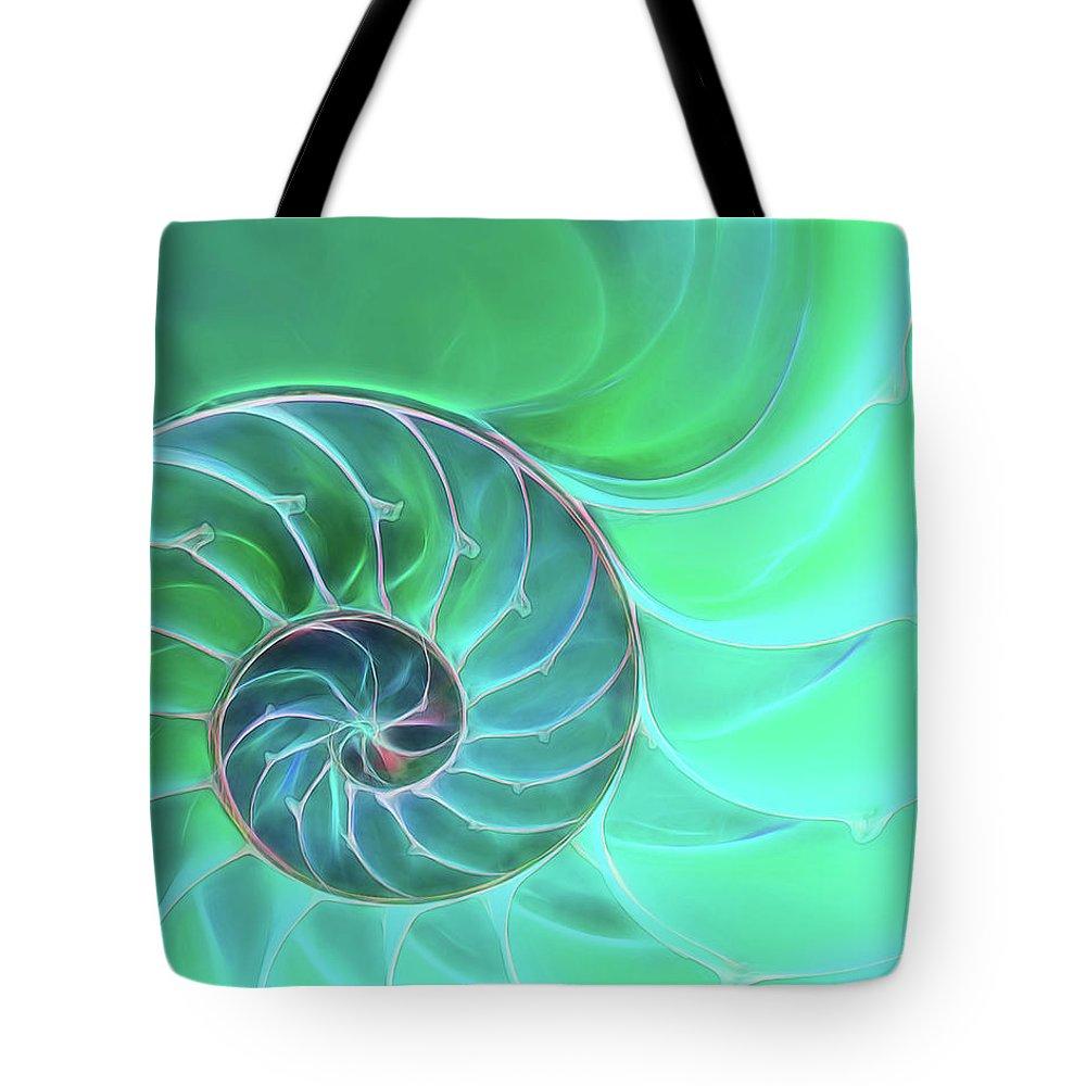 Nautilus Shell Tote Bag featuring the photograph Nautilus Aqua Spiral by Gill Billington
