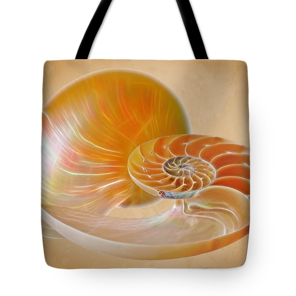 Nautilus Shell Tote Bag featuring the photograph Nautilus Golden Glow by Gill Billington