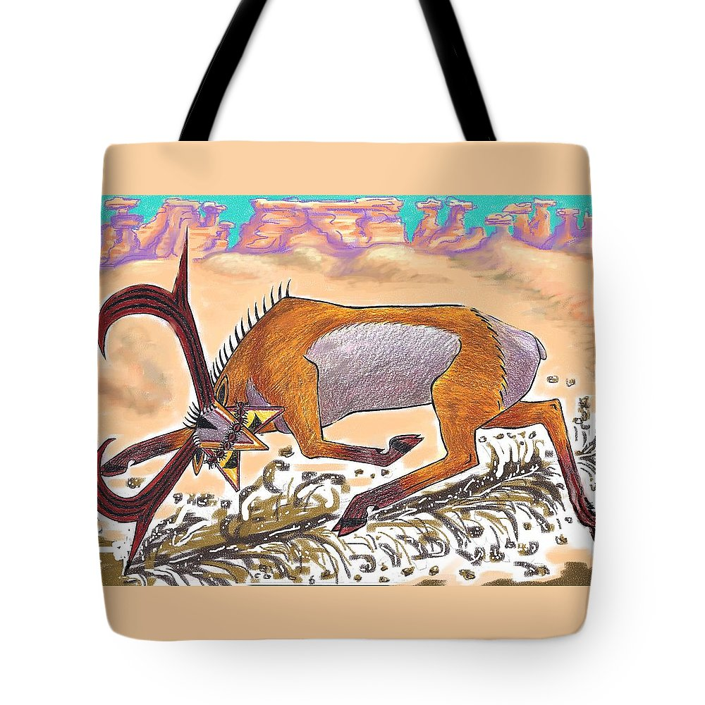 Navajo Tote Bag featuring the drawing Navajo Horned Monster by Dawn Senior-Trask