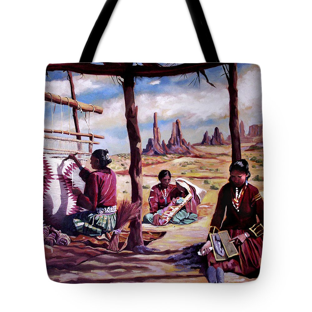 Native American Tote Bag featuring the painting Navajo Weavers by Nancy Griswold