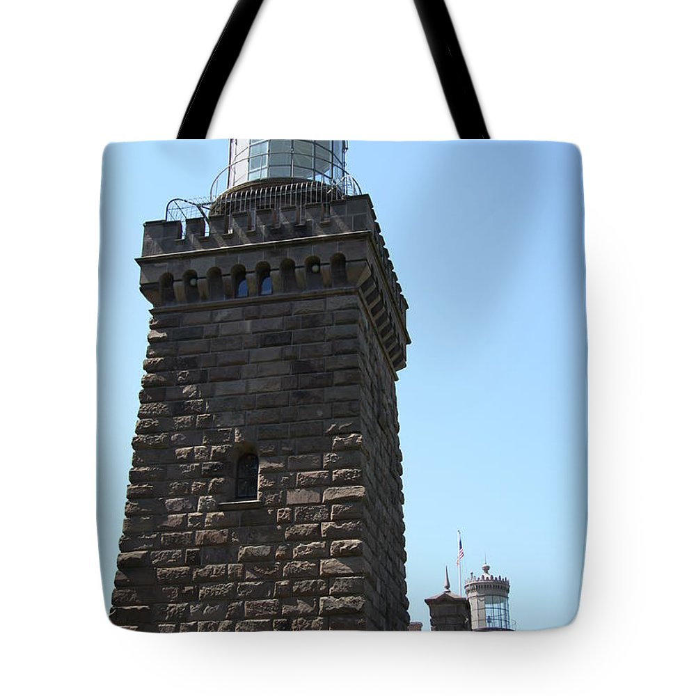 Twinlights Tote Bag featuring the photograph Navesink Twinlights II by Christiane Schulze Art And Photography