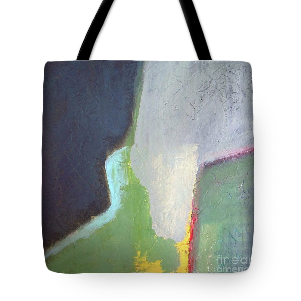 Abstract Tote Bag featuring the painting Navy Gray Green Abstract by Vesna Antic