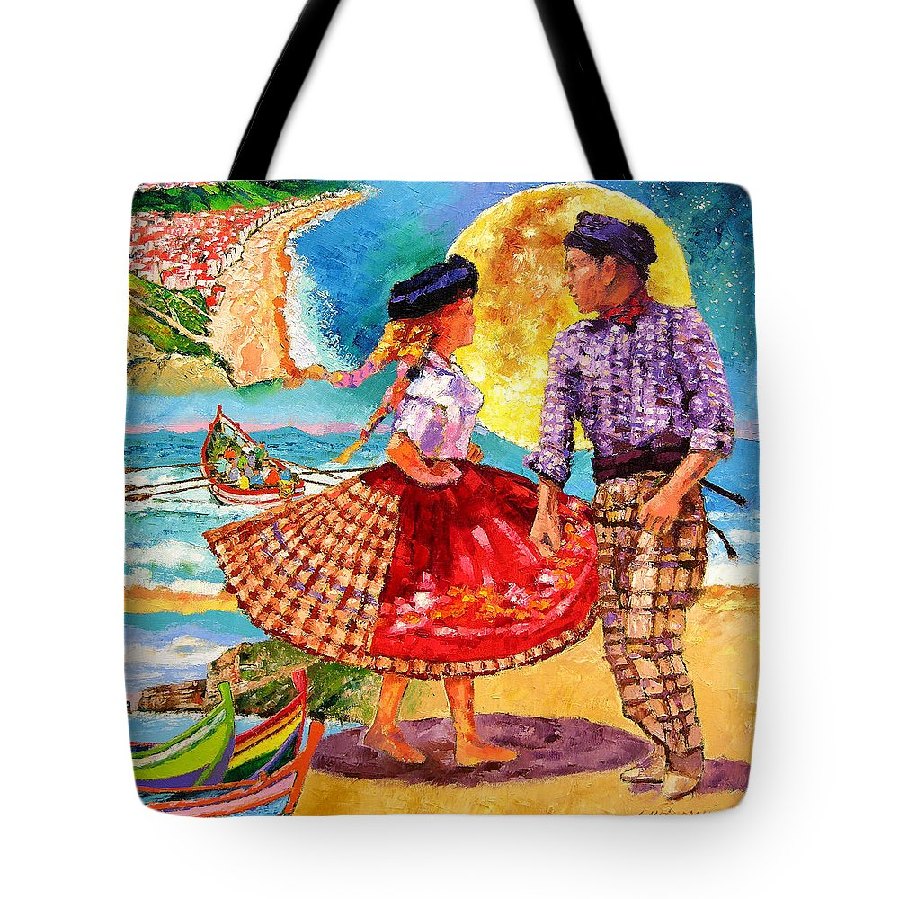 Dancers Tote Bag featuring the painting Nazare Portugal by John Lautermilch