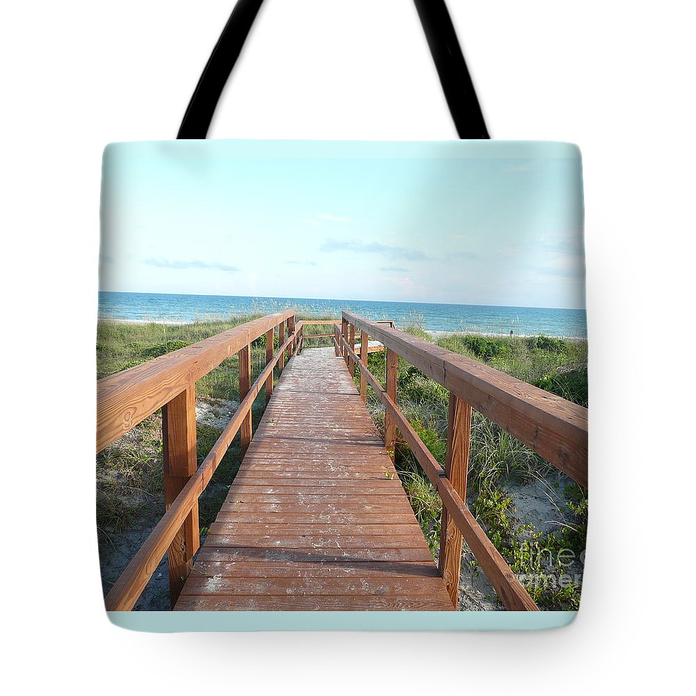 Boardwalk Tote Bag featuring the photograph Nc Beach Boardwalk by Barb Montanye Meseroll