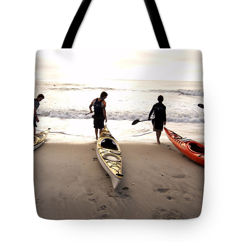 Kayaker Tote Bag featuring the photograph Nc Kayakers by Robert Ponzoni