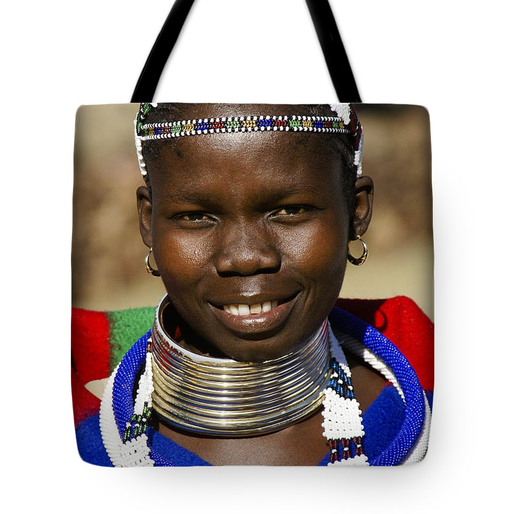 Africa Tote Bag featuring the photograph Ndebele Maiden by Michele Burgess