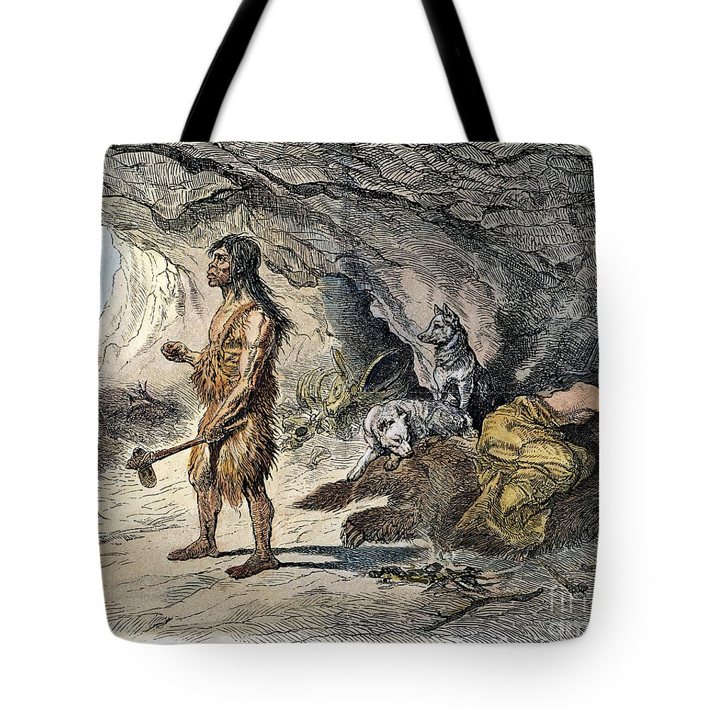 1873 Tote Bag featuring the photograph Neanderthal Man by Granger