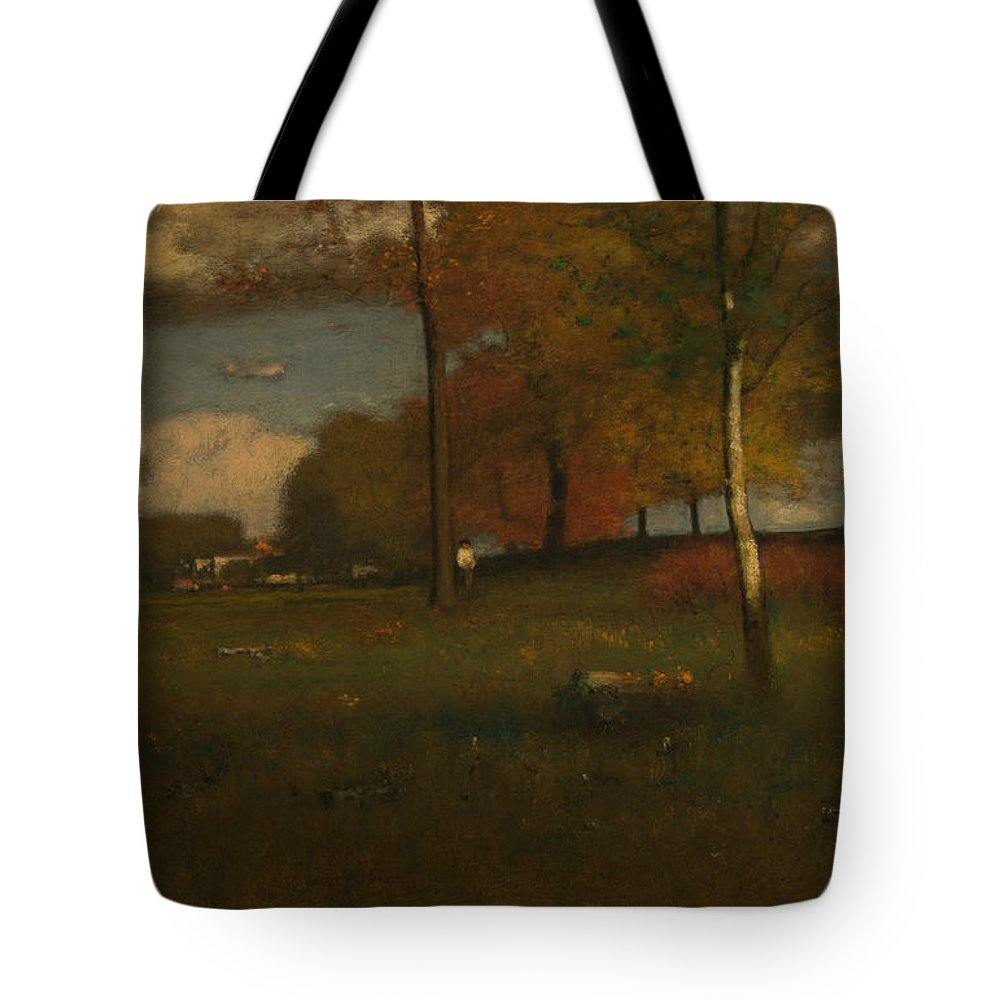 George Inness Tote Bag featuring the painting Near The Village, October by George Inness