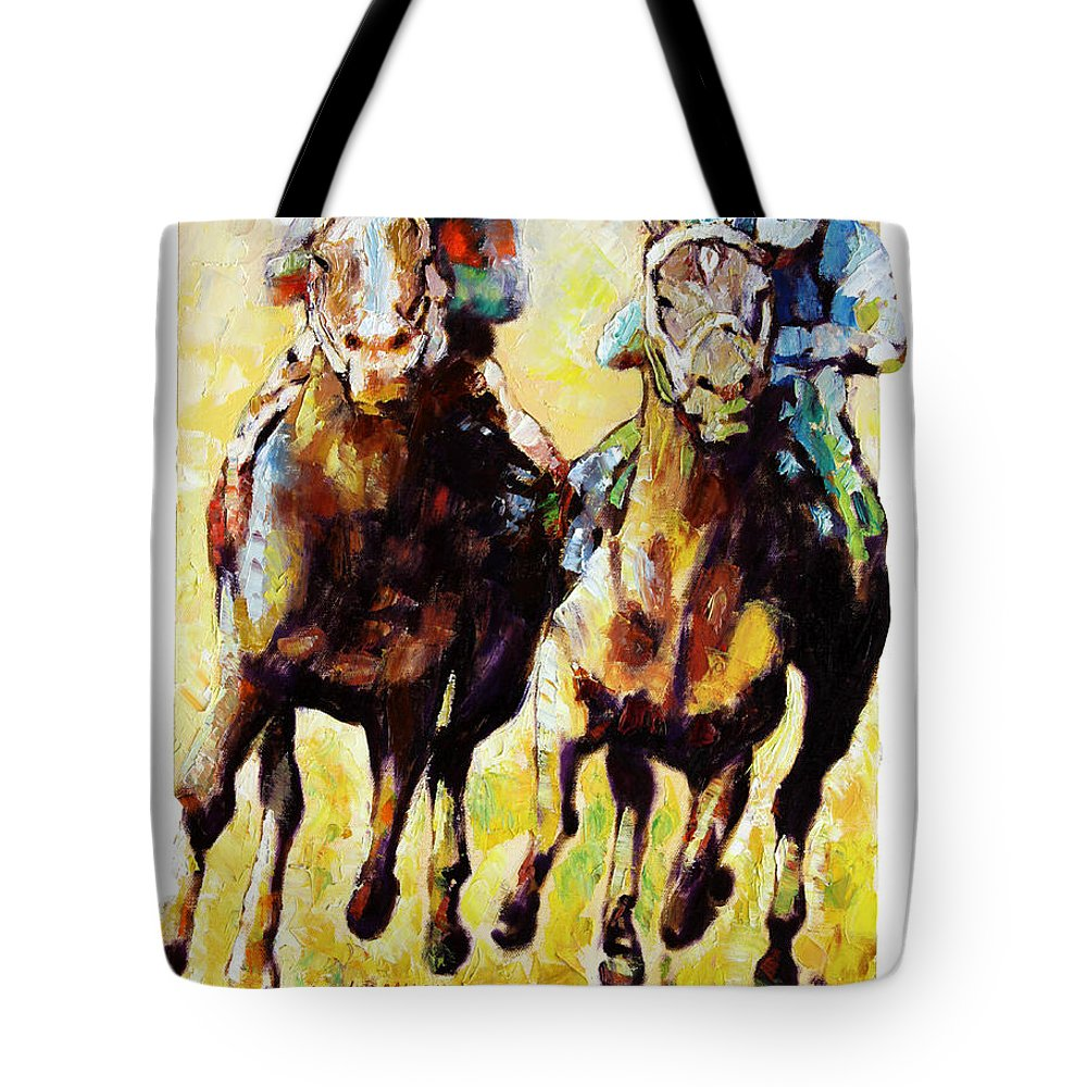 Horse Race Tote Bag featuring the painting Neck and Neck by John Lautermilch