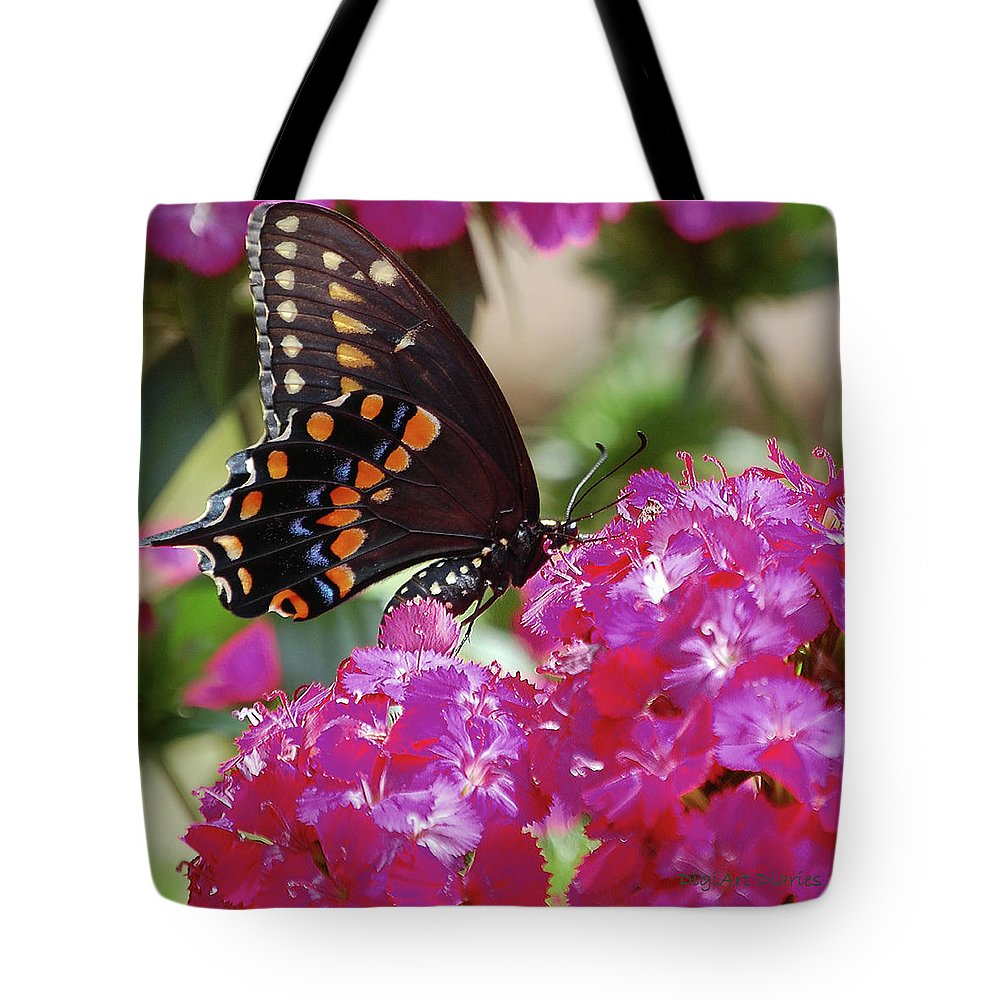 Butterfly Tote Bag featuring the digital art Nectar Of Pink Passion by DigiArt Diaries by Vicky B Fuller
