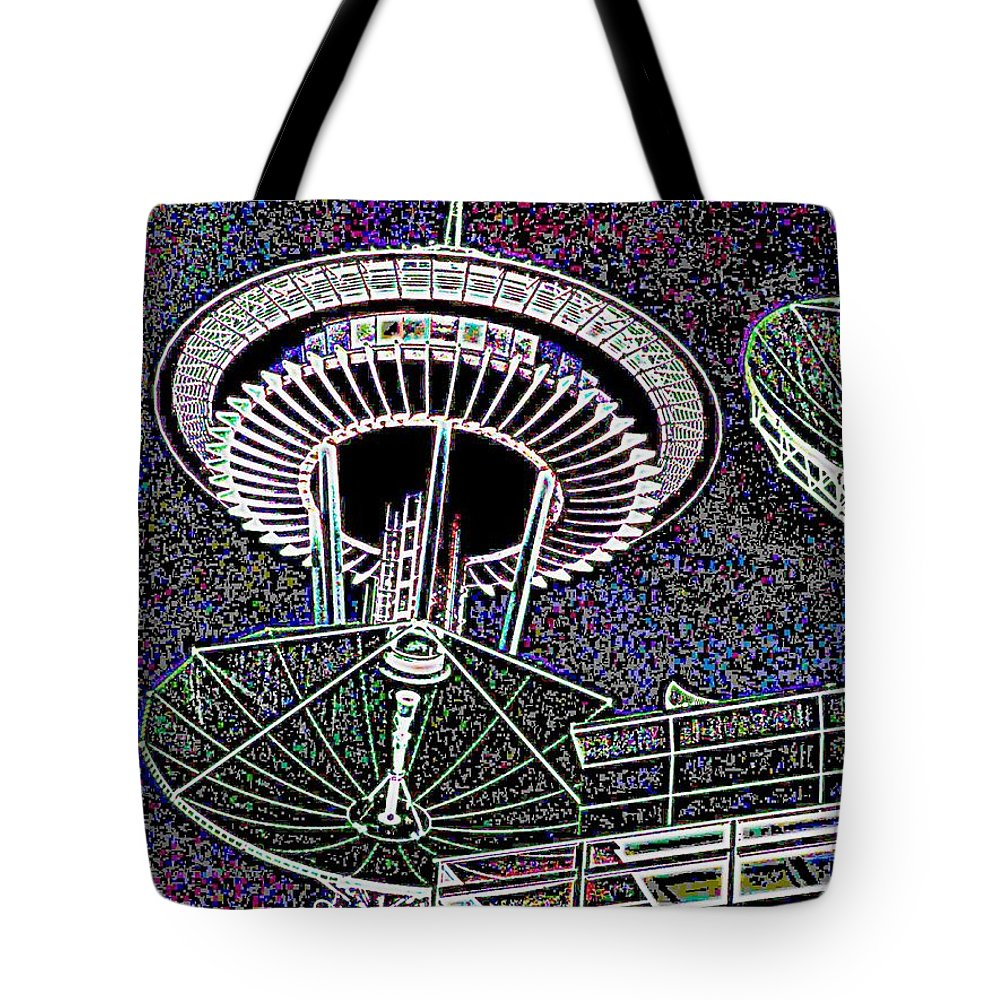 Seattle Tote Bag featuring the digital art Needle Over Fisher Plaza by Tim Allen