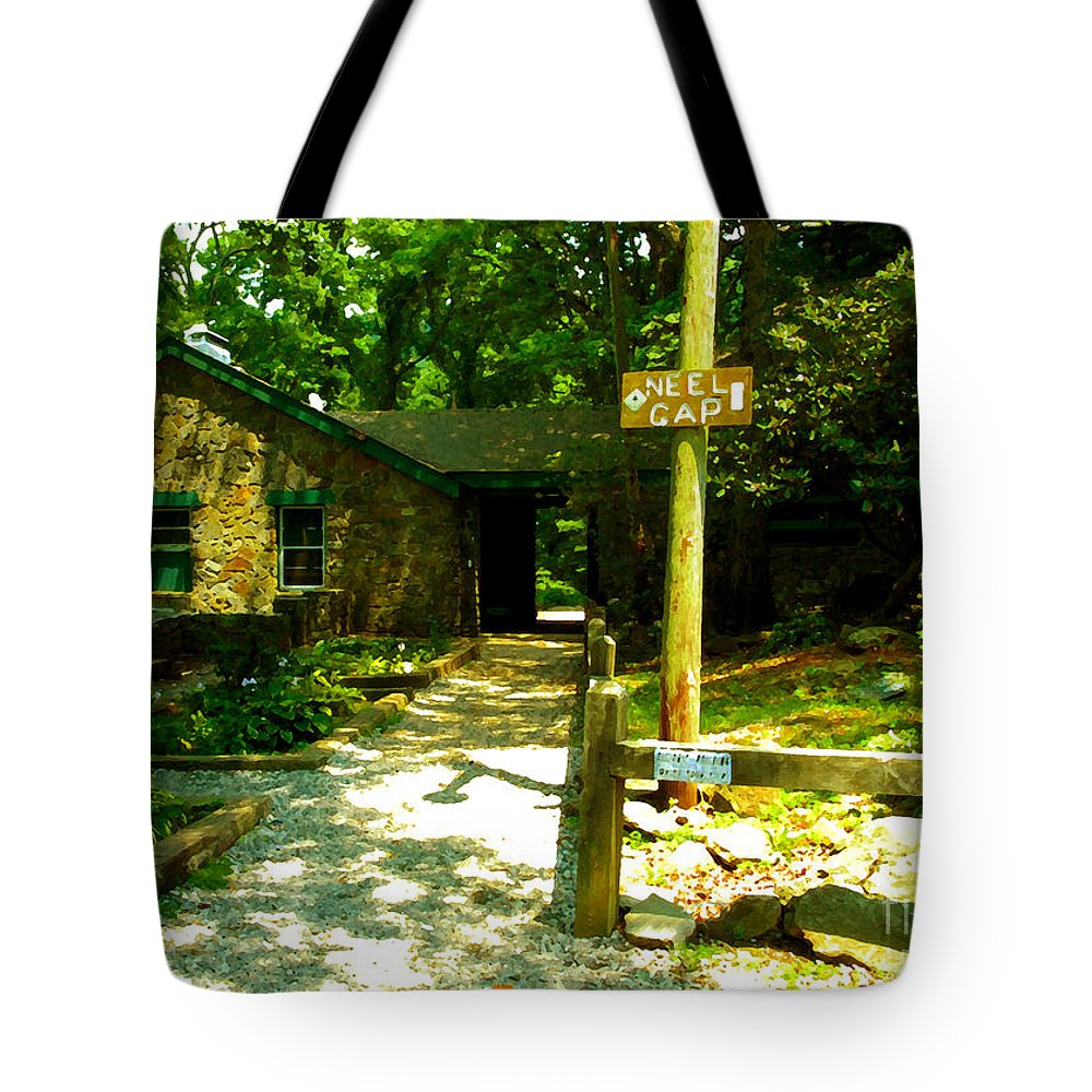 Neel Gap North Carolina Tote Bag featuring the painting Neel Gap Appalachian Trail by David Lee Thompson