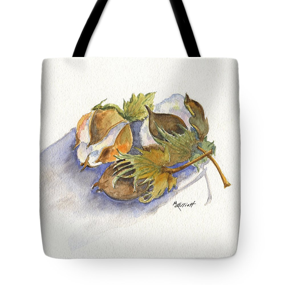 Cotton Tote Bag featuring the painting Neighbor Dons Cotton Bolls by Marsha Elliott