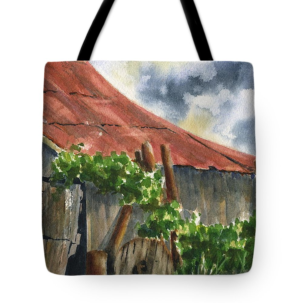 Barn Tote Bag featuring the painting Neighbor Don's Old Barn by Marsha Elliott